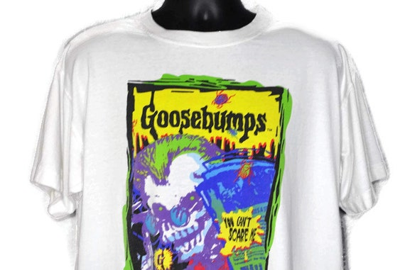 1995 RARE Goosebumps - You Can't Scare Me - RL Stine Book Cult Horror Vintage T-Shirt