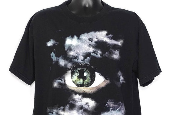 1994 The X-Files - Eye Cloud Lightning - Dana Scully and Fox Molder Stanley Desantis - 20th Century Fox TV Show - Cult Alien Vintage T-Shirt