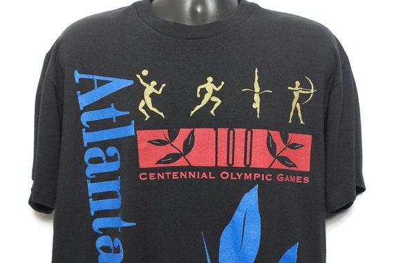1996 Atlanta Olympics Vintage T Shirt - Atlanta 1996 Spell out Centennial Olympic Games Vintage T-Shirt