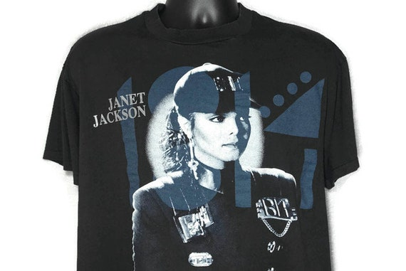 1990 RARE Janet Jackson - (XL Paper Thin) Double Sided Rhythm Nation World Tour 1990 - No Prejudice Ignorance Vintage Concert T-Shirt