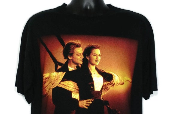 1998 Titanic Vintage T Shirt - Leonardo DiCaprio Kate Winslet I'm Flying Scene Cruise Ship CULT Original 90s Movie Promo T-Shirt