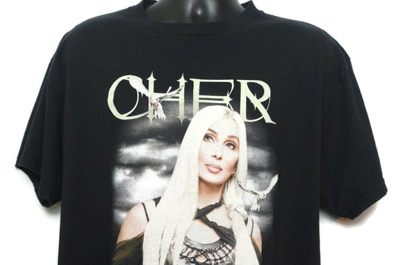 2000s Cher Vintage T Shirt - Farewell Tour Never Say Goodbye Original 00s Music Concert Band Tee on a Large Delta Pro Weight Tag