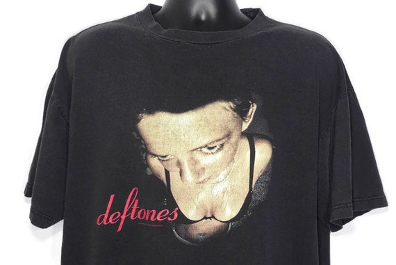 Vintage Original 90s Deftones T Shirt 1998 Around The Fur Metal Grunge Chino Moreno Band Tee Giant Brand Concert T-Shirt XL Black