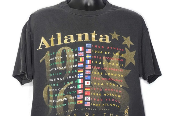 Vintage 90s 1996 Atlanta Olympics - Games of the XXVI Olympiad World Flags Torch & Stars Vintage T-Shirt