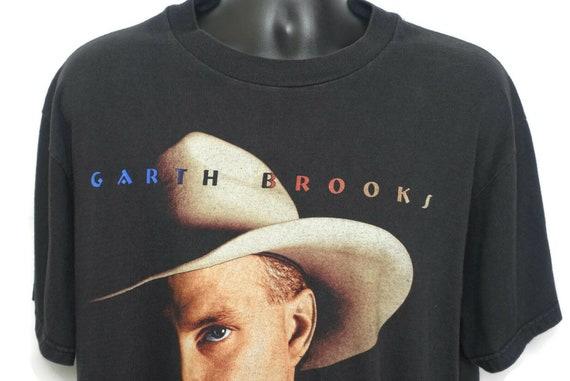 1998 Garth Brooks Vintage T Shirt - Fresh Horses Tour - Big Face Cowboy Hat 2 Sided Original 90s Concert Band Tee T-Shirt