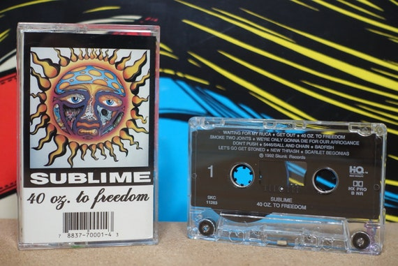 "40oz. To Freedom (Super Rare Skunk Records Pressing with 23 tracks including ""Get Out!"" ) by Sublime Vintage Cassette Tape"