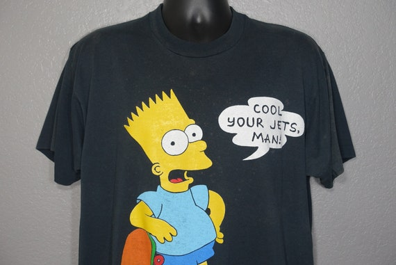 1990 RARE 'Cool Your Jets Man' - Bart Simpson Matt Groening Stained Vintage T-Shirt
