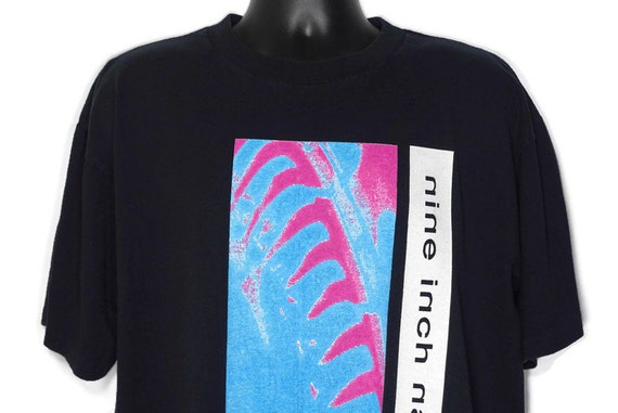 1995 Nine Inch Nails Vintage T Shirt - NIN Pretty Hate Machine - Hate 1990 Goth - Trent Reznor - 2 Sided Original 90s Concert Band T-Shirt
