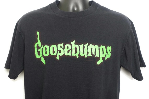 90s Goosebumps Single Stitch Vintage T Shirt - Spellout Spiderweb Logo - RL Stine Book Cult Horror Orignal 90s T-Shirt