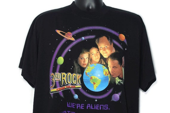 Vintage Original 90s 1996 3rd Rock From the Sun - We're Aliens Whats Your Excuse - Joseph Gordon-Levitt CULT TV Show Vintage T-Shirt