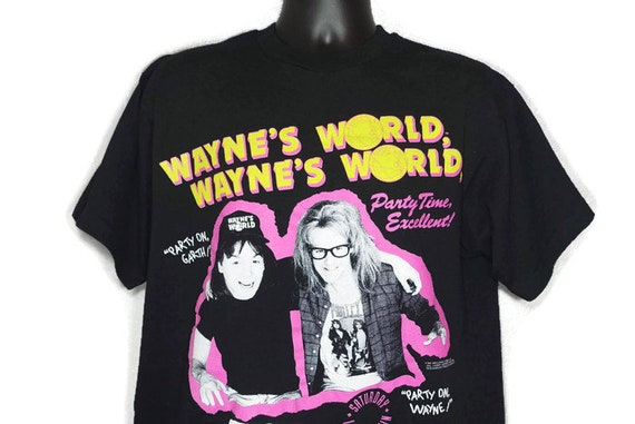 1991 RARE Wayne's World - Party On, Party Time Excellent SNL Wayne and Garth Stanley Desantis Vintage T-Shirt