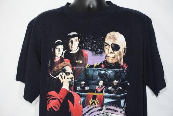 1991 Star Trek VI Vintage T Shirt - Spock Captain Kirk Space Aliens - Original 90's Cult Movie Promo T-Shirt
