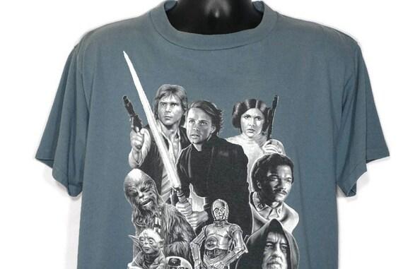 1995 Star Wars - Star Wars - Hon Solo - Luke Skywalker - Princess Leia - C-3PO - Lando - R2-D2 - Chewbacca - Yoda Promo Vintage T-Shirt