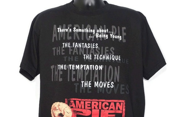 1999 American Pie - The Fantasies The Technique The Temptation The Moves Stifler Jason Biggs Band Camp Cult 90s Movie Promo Vintage T-Shirt
