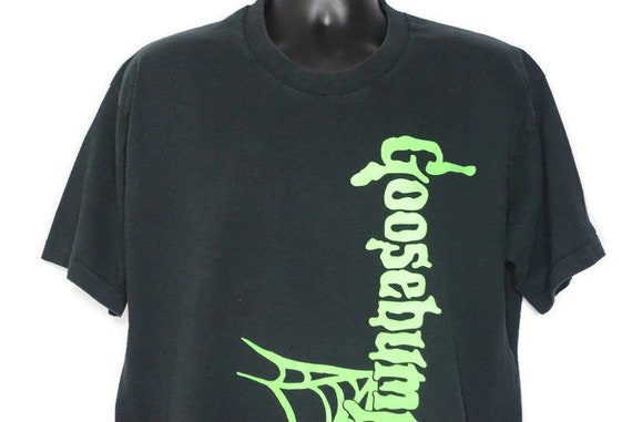 90s RARE Goosebumps - Boo Dude! Goosbumps Spiderweb Logo - RL Stine Book Cult Horror Double - Sided Vintage T-Shirt