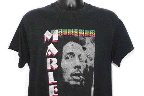 1995 Bob Marley Music Inc Bob Smoking Spliff Double Sided Marley Vintage T-Shirt
