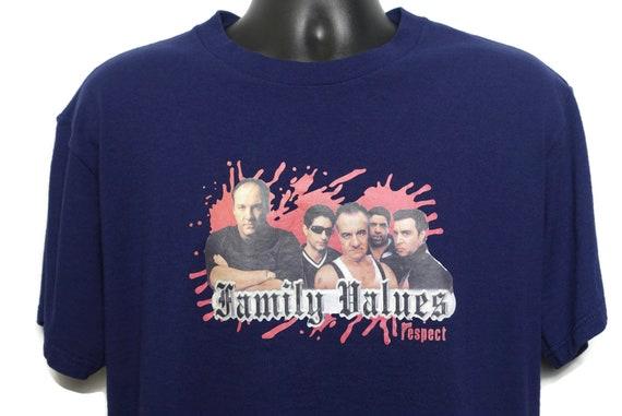 2000s The Sopranos Vintage T Shirt - RESPECT Family Values Tony Soprano Mob Boss Mafia HBO Original 00s Cult TV Show Promo T-Shirt