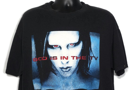 1998 Marilyn Manson Vintage T Shirt - God Is In The TV Rock is Dead - 2 Sided Mechanical Animals Original 90s Concert Band T-Shirt