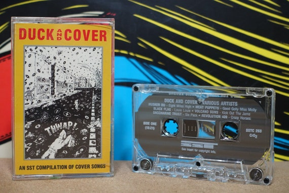 Duck And Cover SST Records Compilation by Various Artists: Black Flag Hüsker Dü Meat Puppets Descendents Vintage Cassette Tape