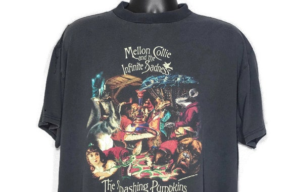 Vintage Original 90s 1996 Smashing Pumpkins T Shirt - Mellon Collie Infinite Sadness Tour - Skull Cross 2-Sided Vintage Concert T-Shirt