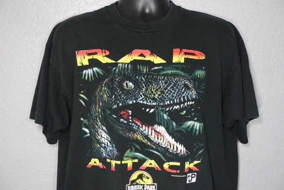 1993 RARE Jurassic Park - RAP Attack Raptor JP Logo - Vintage T-Shirt