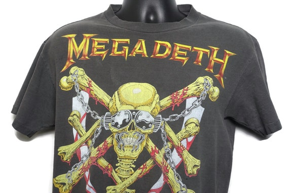 1991 Megadeth Vintage T Shirt - Vic Rattlehead Skull - Metal - Skeleton 2-Sided Original 90s Concert Band T-Shirt