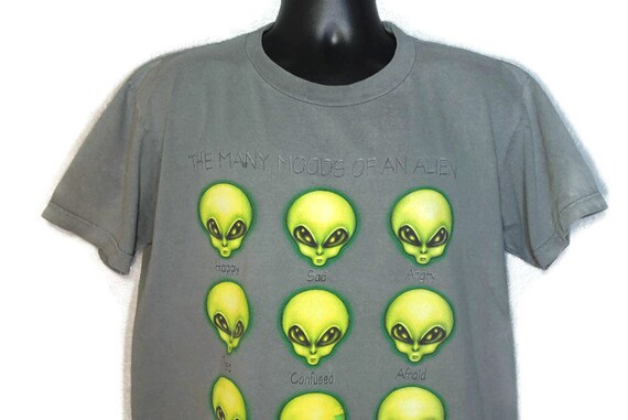 1996 RARE Alien Workshop - The Many Moods of an Alien - Skater Grunge Punk Aliens Work Vintage T-Shirt