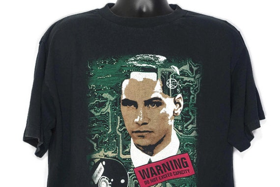 1995 Johnny Mnemonic - Keanu Reeves - Warning Do Not Exceed Capacity - Double Sided Cult 90s Movie Vintage T-Shirt