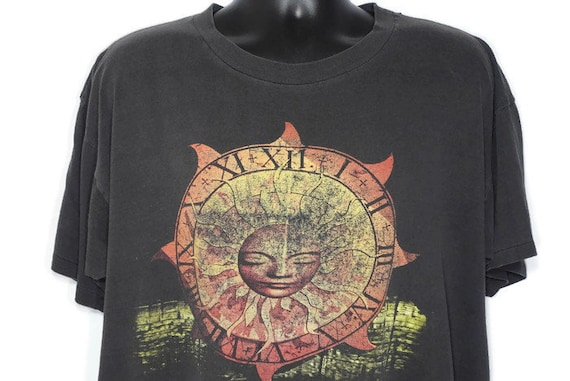 1994 Pink Floyd Vintage T Shirt Division Bell Sun Dial - David Gilmour North American - Paper Thin 2-Sided Original 90s Concert Band T-Shirt