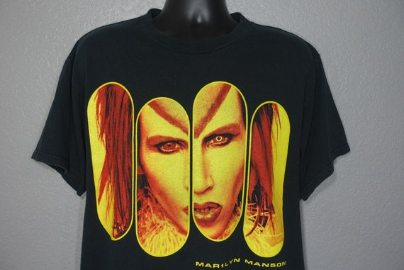 1998-99 RARE Marilyn Manson - Rock is Dead - Double Sided Mechanical Animals Vintage Concert T-Shirt