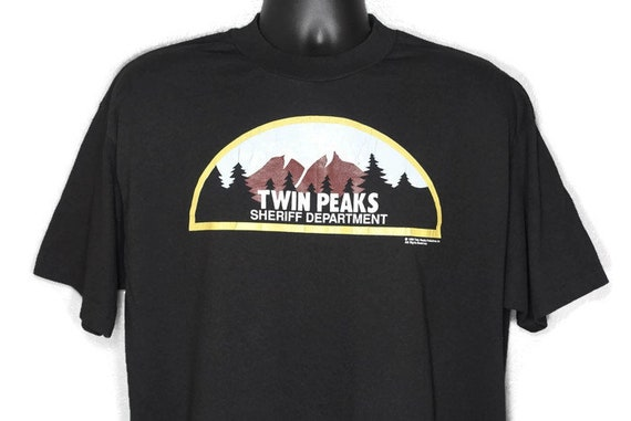 Vintage Original 90s 1990 Twin Peaks Promotional - Sheriff Department - David Lynch Cult TV Show - Fire Walk With Me - Vintage T-Shirt