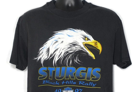1997 Harley Davidson - Screaming Eagle - Sturgis Black Hills Rally - Rapid City South Dakota Motorcycle Promo Double Sided Vintage T-Shirt