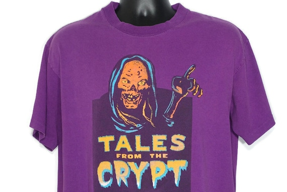 90s Tales From The Crypt Vintage T Shirt - Only on HBO - Curse of Crypt Keeper Halloween Horror - Original 90s Cult TV Show Promo T-Shirt