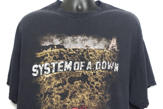 2001 System Of A Down Vintage T Shirt - Toxicity Promo 2 Sided Tennesse River Branded Original 00s Concert Metal Goth Band T-Shirt