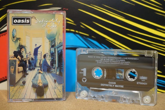 Definitely Maybe by Oasis Vintage Cassette Tape