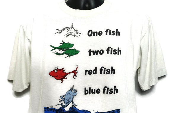 90s Dr Seuss Single Stitch Vintage T Shirt - One Fish Two Fish Red Fish Blue Fish - Cult Book Orignal 90s All Sport Proweight T-Shirt