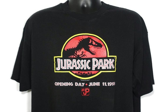1993 Jurassic Park Vintage T Shirt Opening Day June 11 Original JP T Rex Logo - Cult Vintage Movie Promo T-Shirt