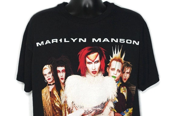 1999 Marilyn Manson Vintage T Shirt - Rock Is Dead Sex Drugs RockN Roll - Goth Grunge - 2-Sided Winterland Original 90s Concert Band T-Shirt