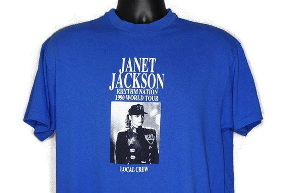 1990 Janet Jackson Vintage T Shirt- Local Crew '90 Rhythm Nation World Tour 1814 Original 90s Concert Band T-Shirt