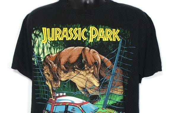 1993 Jurassic Park Vintage T Shirt - Jeep T. Rex Scene Original 90s Cult Movie T-Shirt
