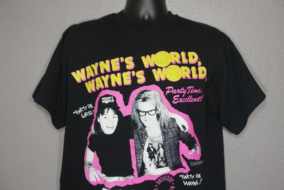 1991 RARE Wayne's World - Party On, Party Time Excellent SNL Wayne and Garth Stanley Desantis Vintage T-Shirt