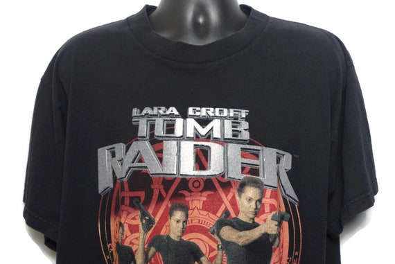 2001 Lara Croft Tomb Raider Vintage T Shirt -  Angelina Jolie Original 00s Video Game Cult Comic Movie Promo T-Shirt