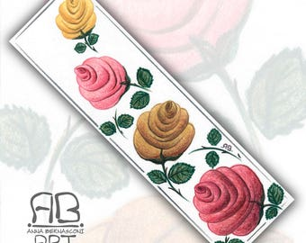 Hand-painted bookmark on paper and plasticized-roses among the books I