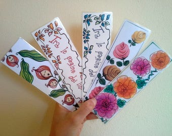 Bookmark printed on paper and plasticized