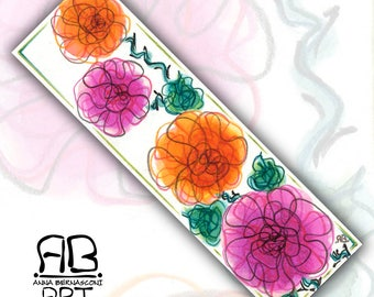 Hand-painted bookmark on paper and laminated-roses between books II