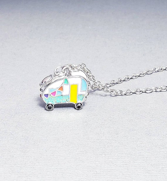 Silver Happy Camper Charm Necklace| Colorful Camper Charm Necklace| Retirement Gift| RV Gift for Travelers| Mini Camper Charm Necklace