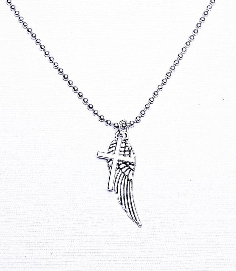 fcfcb62158b82 Men's Silver Pendant Necklace| Men's Angel Wing Cross Pendant Necklace|  Men's Silver Chain Necklace| Men's Silver Layering Necklace