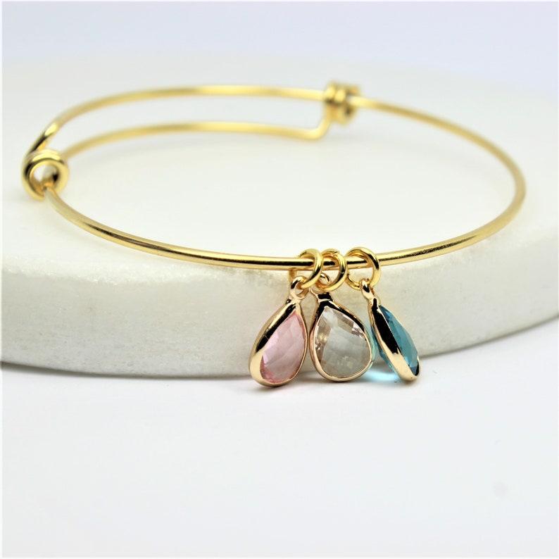 Personalized Bracelet Gift for her Familiy tree Bracelet Grandma Gift Personalized Initial and Birthstone bangle Mum Bracelet