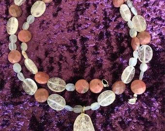 Quartz Chalcedony Rhodonite Dream Necklace