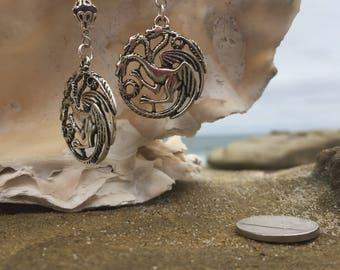 Triple Threat Dragon Earrings with Amethyst